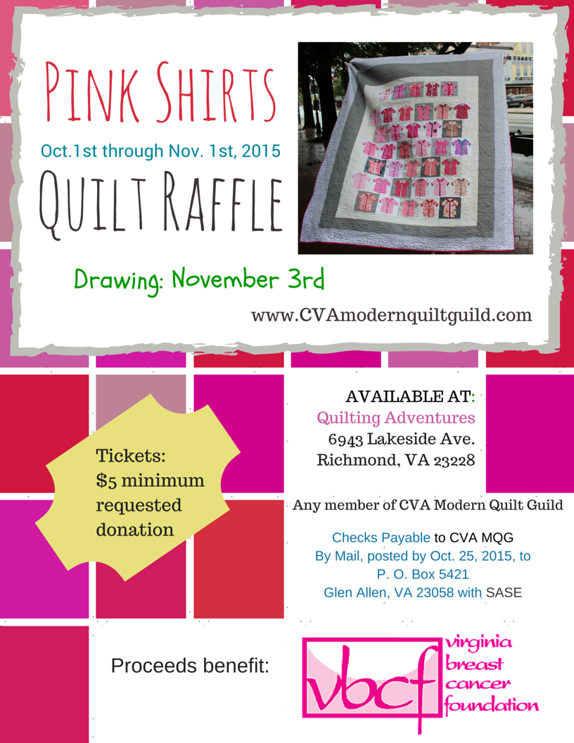 give a pink shirt central virginia modern quilt guild pink shirts raffle flyer street style