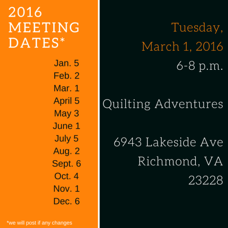 2016 Meeting Dates March