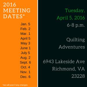 2016 Meeting Dates April 2016